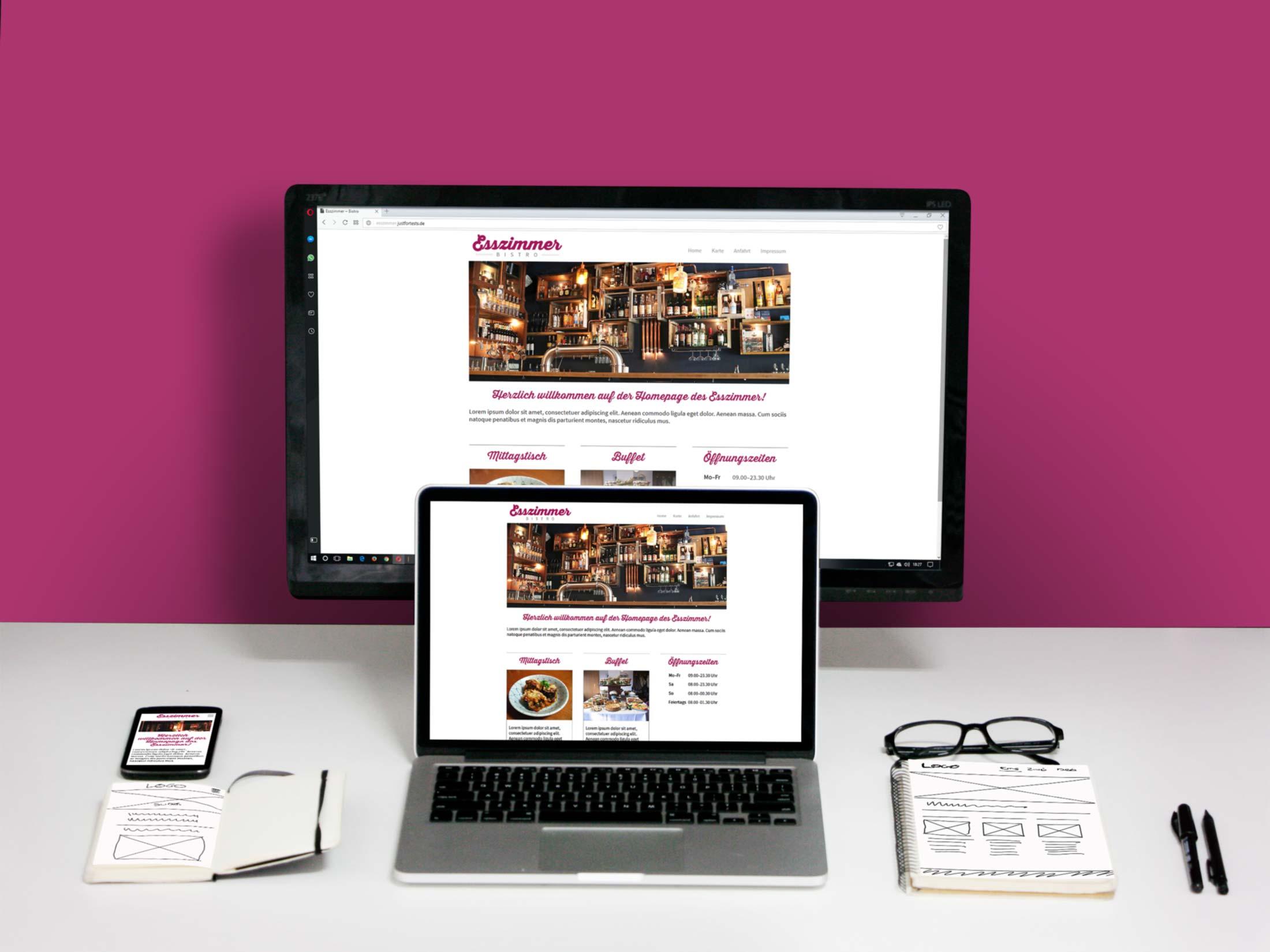 """Homepage für das fiktive Bistro """"Esszimmer"""""""